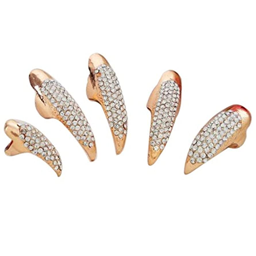 軽減矩形カプラーB Blesiya レトロ クリスタル ラインストーン 指先 爪リング 5本セット 2色選べ - ゴールデン