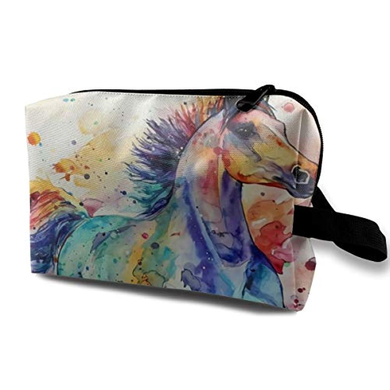 インポートパフかき混ぜるWatercolor Running Horse 収納ポーチ 化粧ポーチ 大容量 軽量 耐久性 ハンドル付持ち運び便利。入れ 自宅?出張?旅行?アウトドア撮影などに対応。メンズ レディース トラベルグッズ