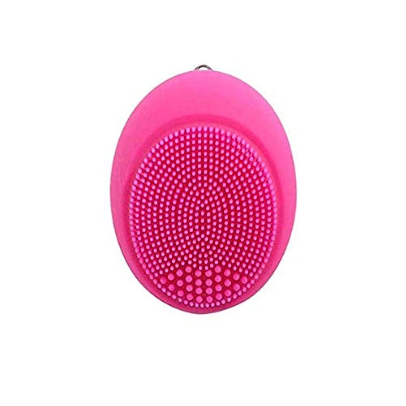 割り込み昼間鉛ソニックバイブレーションフェイシャルクレンジングブラシ、シリコンディープクレンジングブラシスキンクレンザーアンチエイジングジェントルエクスフォリエイティングリジュビネイトスキンマルチカラー (Color : Rose pink)