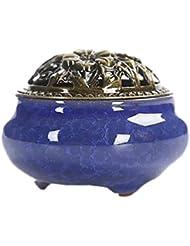 U-Pick 香炉 お香立て セット 心を落ち着かせてくれる 色合い 陶器 サファイア色