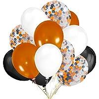 30個 オレンジ&ブラック&ホワイト ラテックス風船 オレンジ&ブラック 紙吹雪バルーン ハロウィーンパーティーデコレーション用