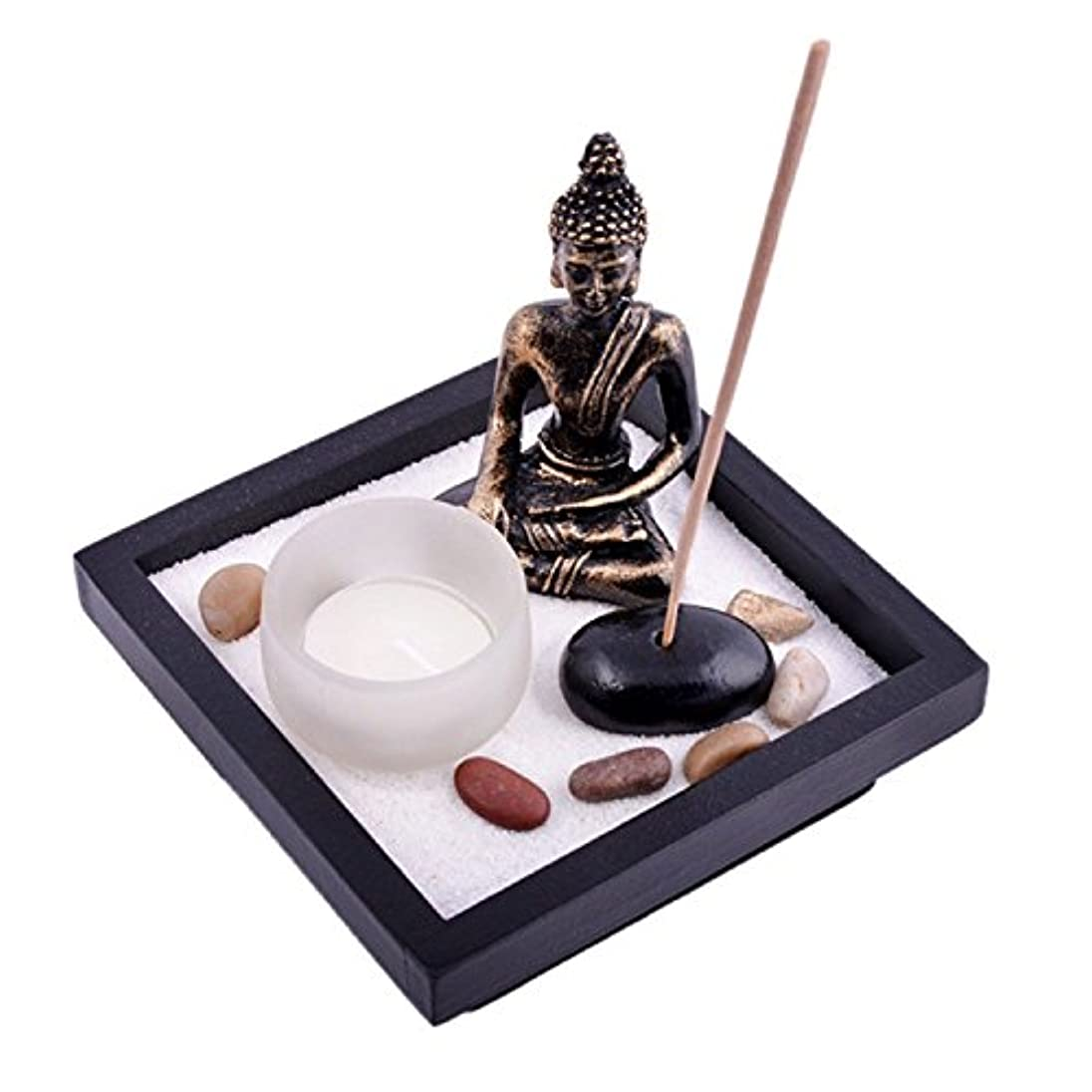 実行する好きである報いるThy Collectibles Asian Japanese Feng Shui砂Zen Garden Buddha Tealight & Incense Holder yd50