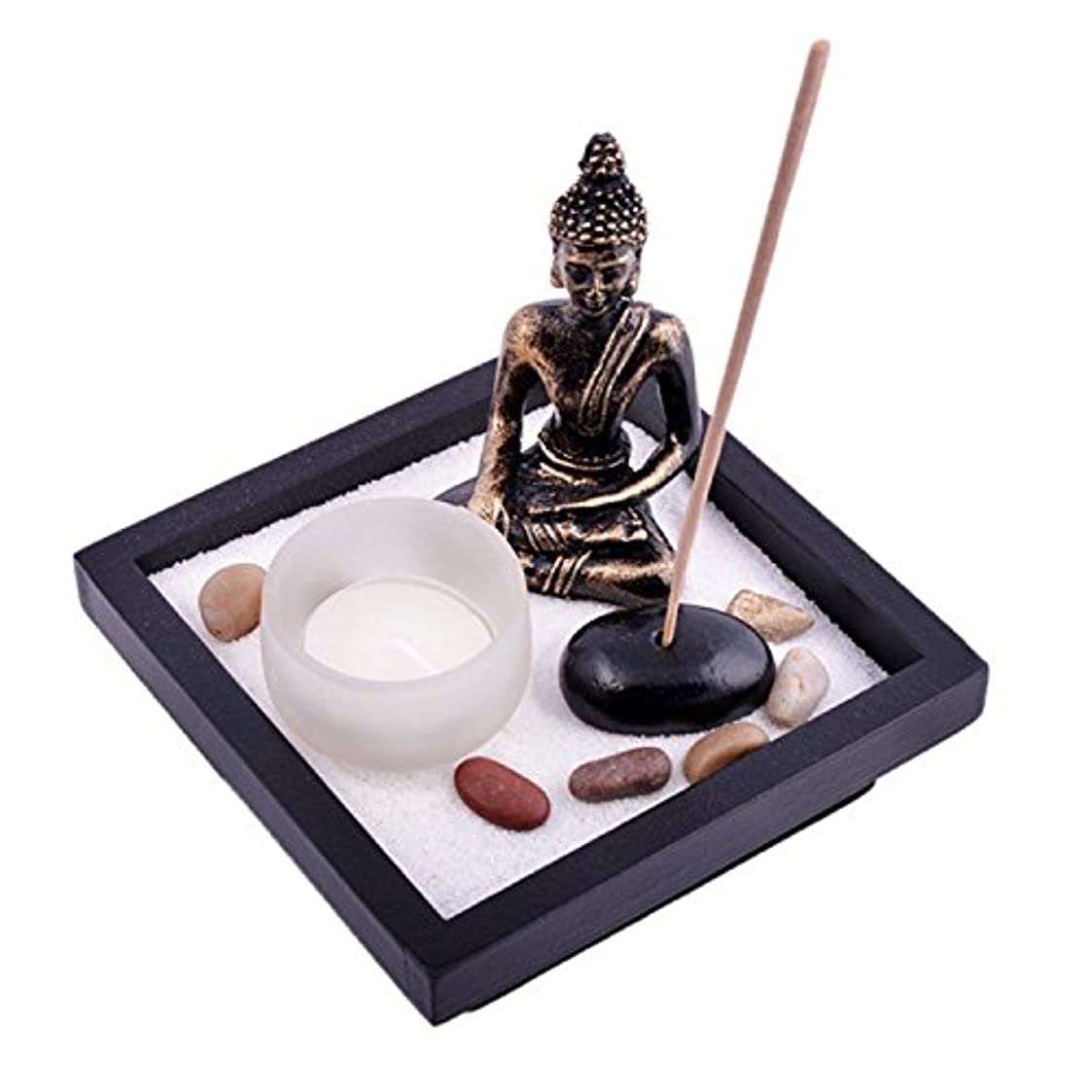 オリエント説教する世紀Thy Collectibles Asian Japanese Feng Shui砂Zen Garden Buddha Tealight & Incense Holder yd50