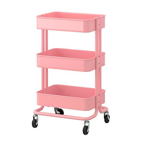 全5色 キッチンワゴン キャスター付き キッチン 収納 ワゴン (ピンク)
