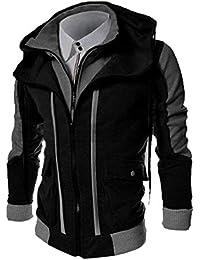 Keaac メンズ偽2ピースフルジップカラーブロックウィナージャケットアウトコートコート