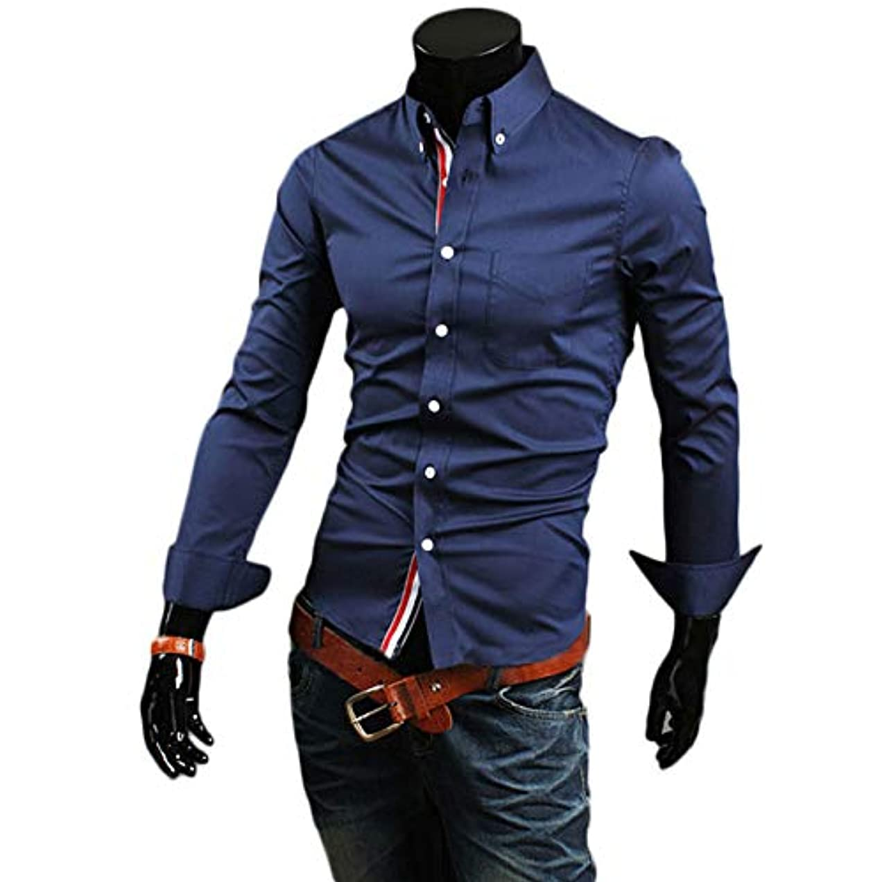 生態学怪物周辺Cococo Manスタンドカラーボタンダウンスリムトップブラウスカジュアルファッションスプライスポケットシャツ - ネイビーブルー - M