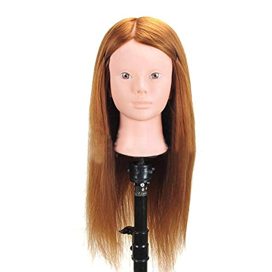 高温シルクヘアマネキンヘッド編組ヘアヘアピンヘッドモデルサロンパーマ髪染め学習ダミーヘッド