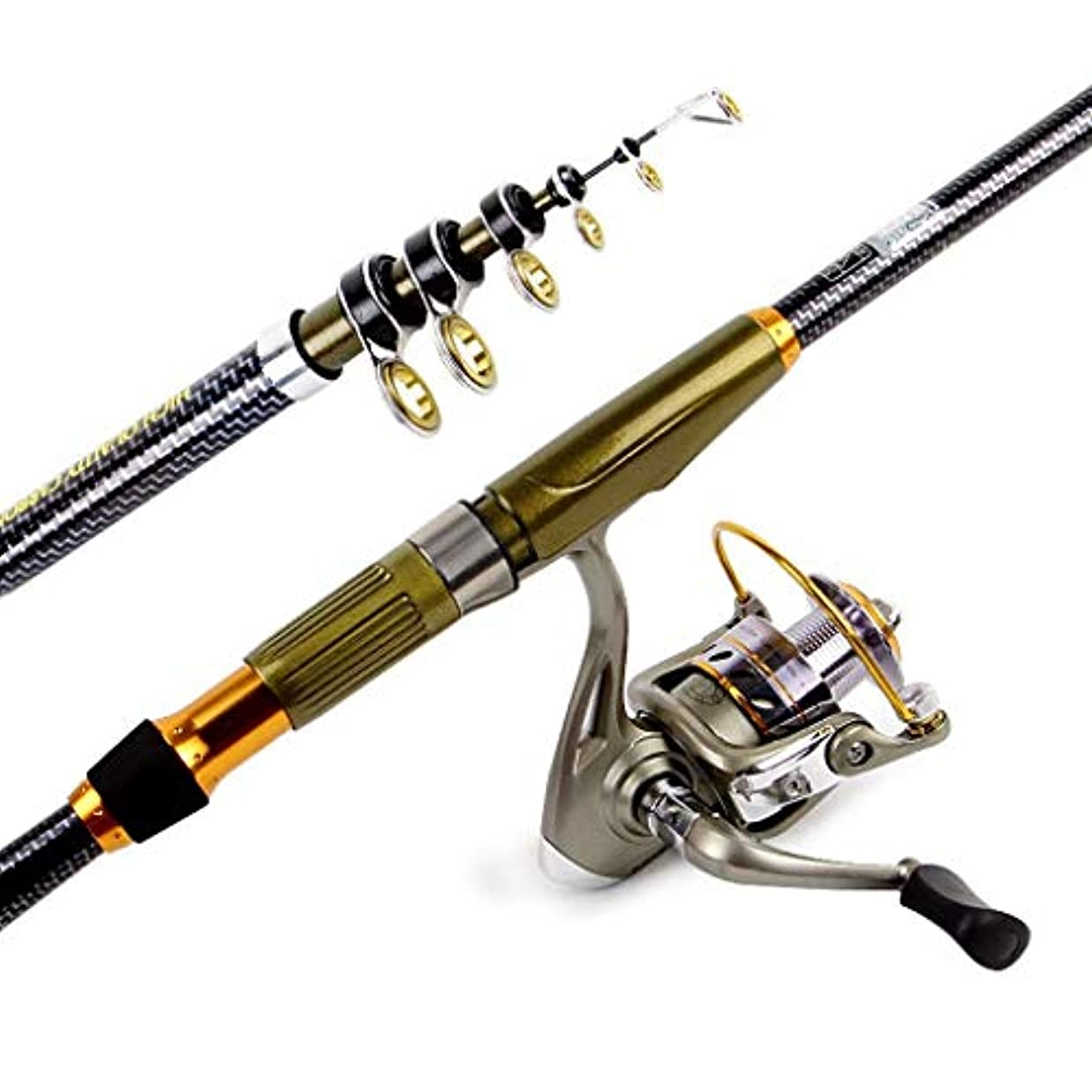 無心無駄聴くテレスコピック釣り竿スピニングリール付き釣り竿コンボ旅行塩水淡水釣り用キャリアバッグ