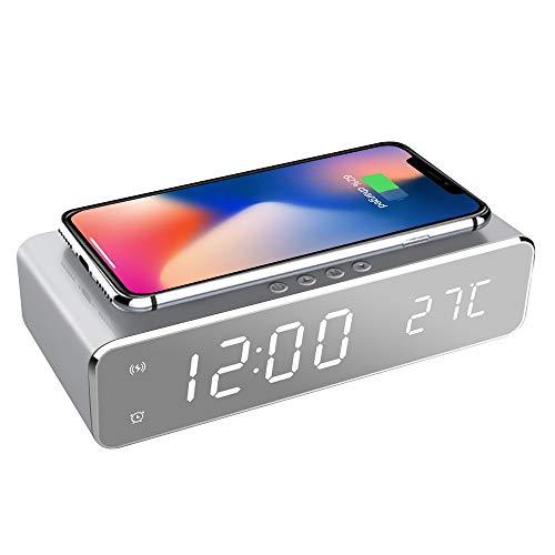 置き時計 QIワイヤレス充電機能 目覚まし時計 アラームクロック USB給電...