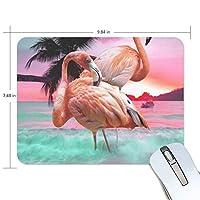 マウスパッド フラミンゴでロマンチックなビーチ 疲労低減 ゲーミングマウスパッド 9 X 25 厚い 耐久性が良い 滑り止めゴム底 滑りやすい表面
