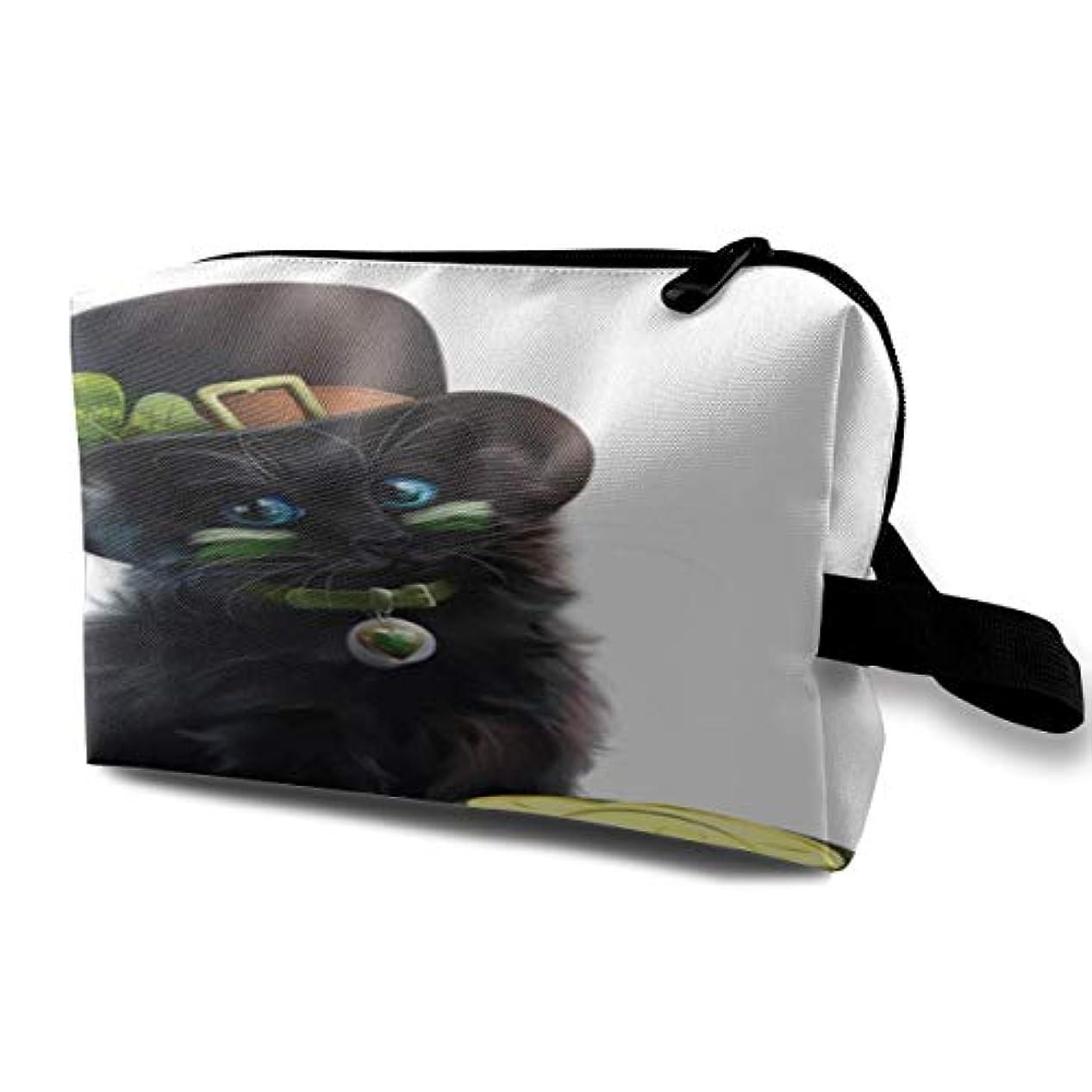 ベーカリー独立した電極St Patricks Day Cute Kitten 収納ポーチ 化粧ポーチ 大容量 軽量 耐久性 ハンドル付持ち運び便利。入れ 自宅?出張?旅行?アウトドア撮影などに対応。メンズ レディース トラベルグッズ