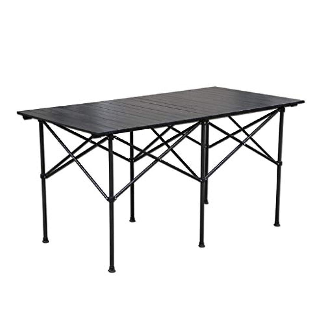 騒乱受賞交換可能テーブル?チェアセット 折りたたみテーブルアルミテーブルトップ模造大理石パターン折りたたみテーブル1.4メートル長方形屋外テーブルピクニックキャンプディナーパーティーテーブル (Color : Black, Size : 140*70*70cm)