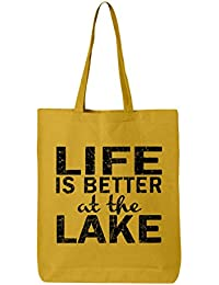 shop4ever Life Is Better At The LakeブラックコットントートバッグSayings再利用可能なショッピングバッグ6 oz Eco 12 oz イエロー S4E_1215_LifeLakeBlk_TB_QTBG_Yellow_3