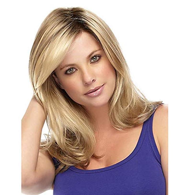 ファーム家族ステンレス女性ショートボブウェーブウィッグ150%密度高密度オンブル合成かつら漂白結び目耐熱繊維人間の髪の金20インチ