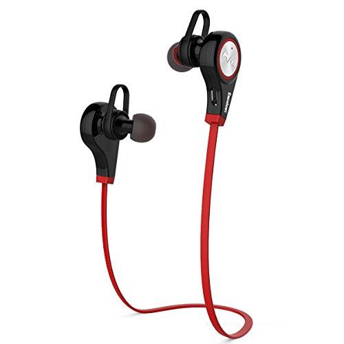 Excelvan Q9 スポーツイヤホン Bluetooth V4.1 高音質 ヘッドフォン ランニング 通話 防汗 耳かけ型 スポーツ用 レッド