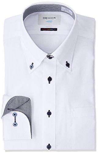 (オリヒカ)ORIHICA(オリヒカ) ボタンダウンシャツ ドゥエボットーニ 白織柄切替紺千鳥 FMLB3721 白 L Regular