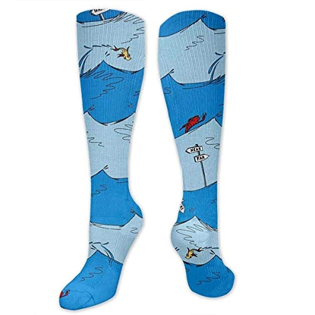 自分を引き上げるルアー特別な靴下,ストッキング,野生のジョーカー,実際,秋の本質,冬必須,サマーウェア&RBXAA One Fish Two Fish Wave Stripe Blue Socks Women's Winter Cotton Long...