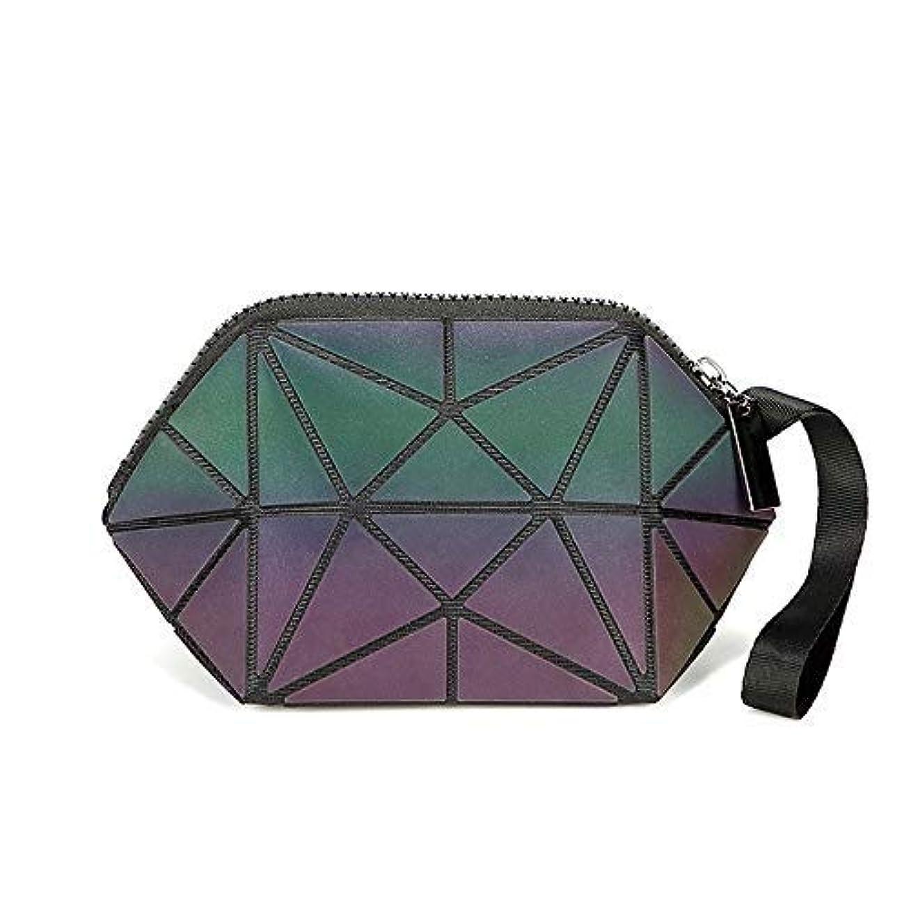 Leshang 化粧ポーチ 幾何模様デザイン 3 スタイル ホログラフィック 反射素材 化粧ポーチ 化粧品バッグ メイクバッグ コスメ収納 化粧道具の収納バッグ (1)