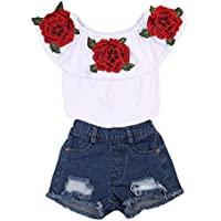 Aliven Girls' 2Pcs/set Floral Flower Ruffle Tops + Hole Denim Shorts Outfits