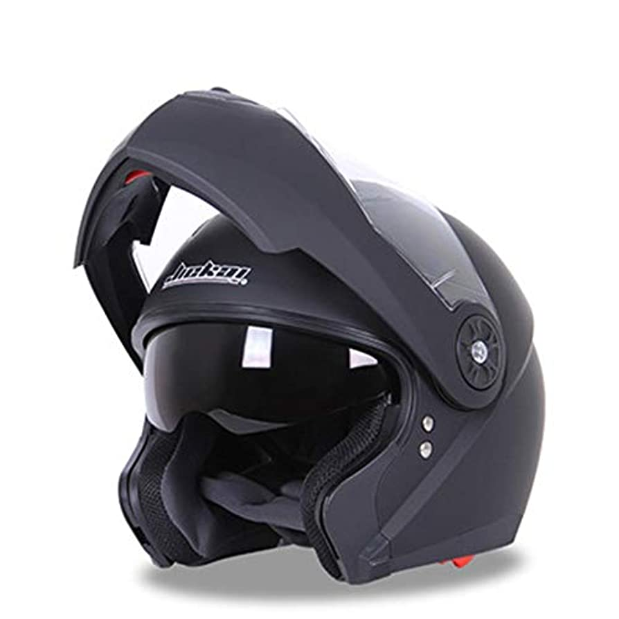 精神医学浮浪者もHYH オートバイヘルメット防曇ダブルレンズフルヘルメットカバー四季ヘルメットハーフヘルメットオープンフェイスヘルメット いい人生 (色 : Matte black, Size : XL)