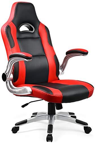 ゲーミングチェア オフィスチェア ロッキング 多機能 パソコンチェア 事務椅子 ゲーム用チェア 腰痛対策 跳ね上げ式アームレスト レッド 『一年無償部品交換保証』(F32RED)