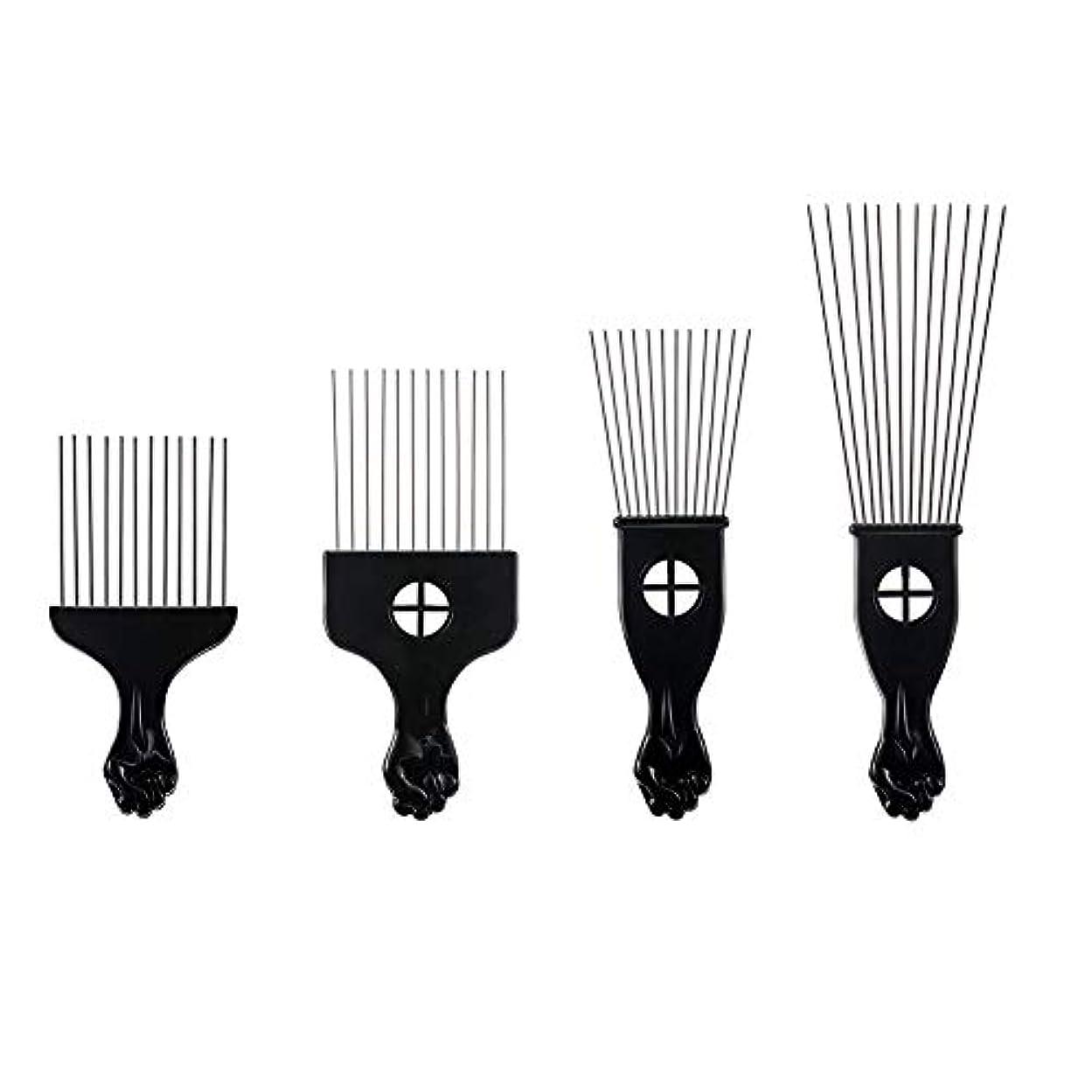 手足にはまって努力プラスチックフォークスチール針櫛歯4毛櫛ヘアピン挿入ツールの櫛髪
