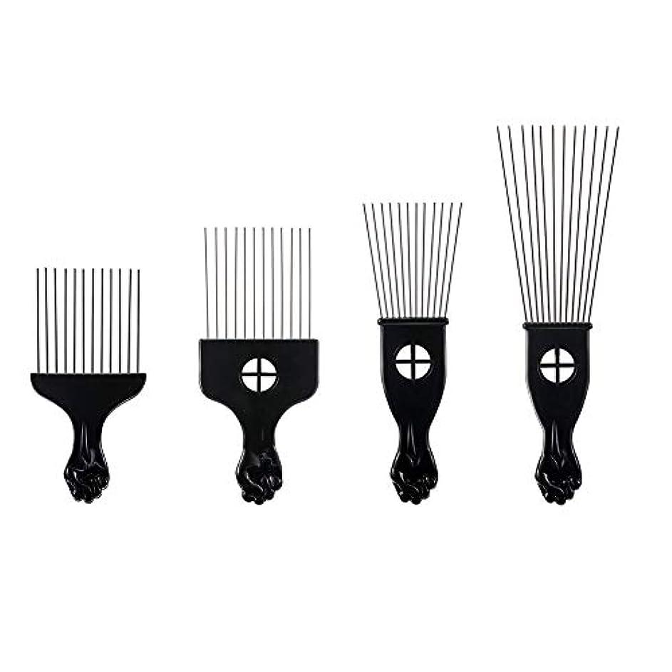 旅行者策定する店主プラスチックフォークスチール針櫛歯4毛櫛ヘアピン挿入ツールの櫛髪