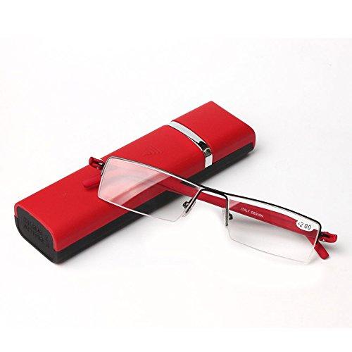 おしゃれリーディンググラス携帯用 ケース付 度数「+1.0~+3.5」 +1.5, レッド