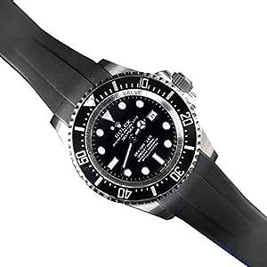 RUBBERB ロレックス ディープシー(Ref.126660)専用ラバーベルト【ブラック×ブルー】【ROLEXバックルを使用】※時計、バックルは付属しません(Watch is not included) (【XS】 6時側5駒/12時側5駒) [並行輸入品]