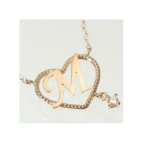 [キュートジュエリー]Cute jewerly ダイヤモンド ペンダント ネックレス ダイヤがぶら下がるイニシャルハートペンダント 「M」 ホワイトゴールド