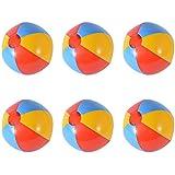 (イユ)Yiyu 6個セット 子供用 ビーチボール 虹色 男の子 女の子 海水浴 ビーチ遊び玩具 28cm