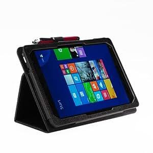 [July] Dell Venue 8 PRO 専用PUレザーケース  スタンド機能 タッチペンホルダー付 ペンシルタッチペン付属(8-1) (ブラック)