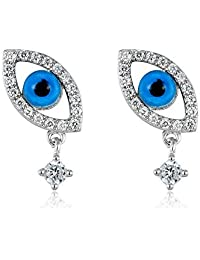 925 Sterling Silver Blue Evil Eye Cubic Zirconia Dainty Silver Post Stud Earrings Jewelry for Women by GLEAM AND HOPE