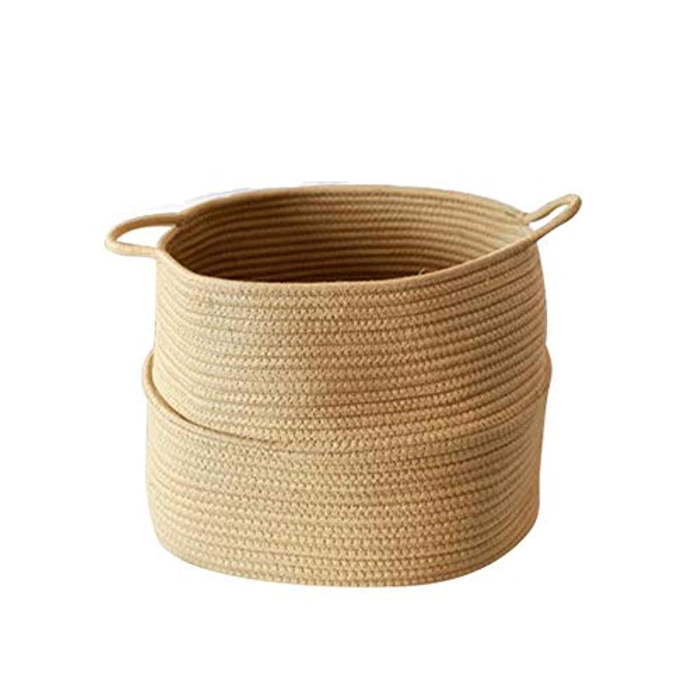 アラブ奴隷魔術ベビーランドリーバスケット玩具ストレージブランケットストレージソフトストレージのために綿ロープバスケットハンドルビン?ナチュラル織バスケット
