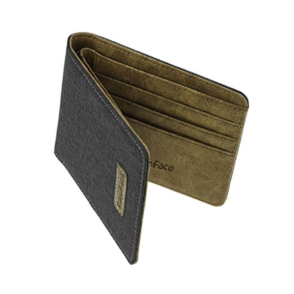 改修引用アルバニー短財布二つ折り メンズパースシンプル ビジネスマン用ウォレット フォマール財布 学生からサラリーマンまで使える多機能立財布 超薄いさいふ 上品 カジュアル ショートウォレット 12*9.6*1.2cm ブラック