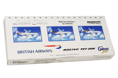 1:400 ジェミニジェット GJBAWSET3 ボーイング 727-200 ダイキャスト モデル ブリティッシュ 航空【並行輸入品】