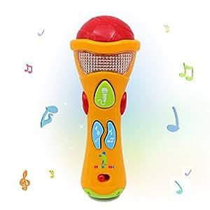 Wishtime うたって カラオケ 音楽 マイク スピーカー マイクロホン 子ども 幼児 ベビー パーティー おもちゃ LED 玩具 録音 変声 5曲入り(色選択不可)