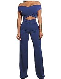 Nicellyer 婦人用の固体は、1つのワードの肩のハイウエストワイドレッグのシャツとパンツ