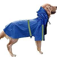 LORAER Qianer 犬用レインコート ペットレインコート 犬用レインウエア ポンチョ 雨具 帽子付き ポケット付き 防水 軽量 調整可能 散歩 梅雨対策 可愛い 反射テープ付き 小中大型犬(M ブルー)