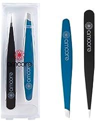 amoore 毛抜き 眉毛ピンセット ツイーザー 高級ステンレス製 使いやすい 2セット