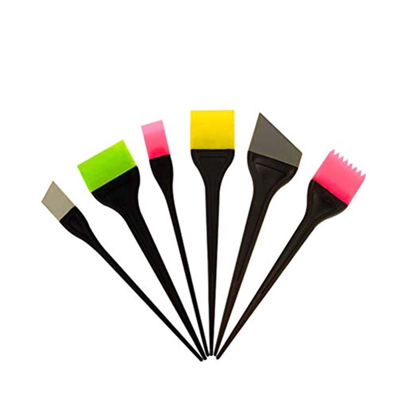Frcolor ヘアダイブラシ ヘアカラー 毛染め シリコン製 ヘアダイコーム カラーリングブラシ 家庭用 美容師プロ用 6本セット(ランダム色)