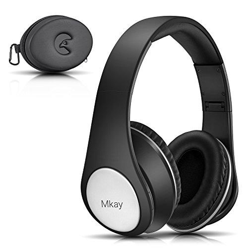 Bluetooth ヘッドホン MKayワイヤレスヘッドフォン 密閉型 高音質 Bluetooth V4.2 25時間音楽再生 1.5時間の高速充電 折りたたみ式 マイク内蔵 スマホ・タブレット・パソコンに対応(ダークブラック)