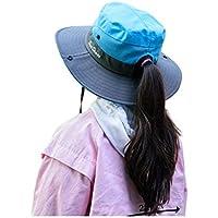 SportsWell Kids Girls UV Protection Foldable Ponytail Sun Hat Wide Brim Beach Bucket Cap