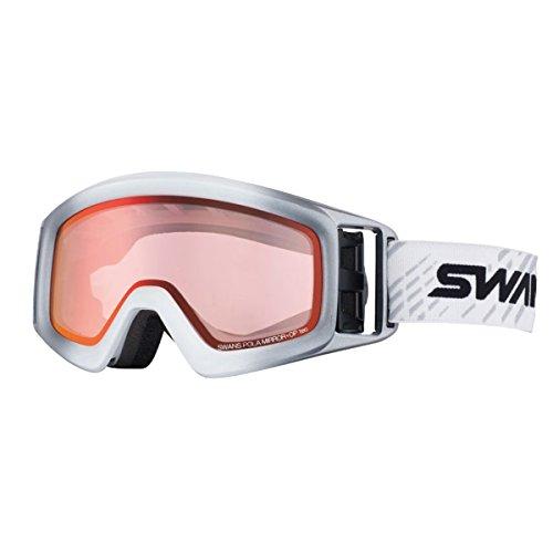 SWANS(スワンズ)大人向け パステルシャドーミラー 偏光ピンクレンズ スノーゴーグル 透過率42% HELI-MPDH W_SILホワイト×シルバー F