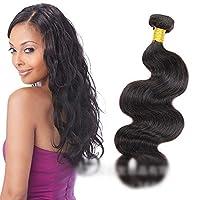 DANHCHUN 人間の髪織りバンドルナチュラルヘアエクステンション横糸 - ボディウェーブ - ナチュラルブラックカラー(1バンドル、100g)ファッション (色 : 黒, サイズ : 22 inch)