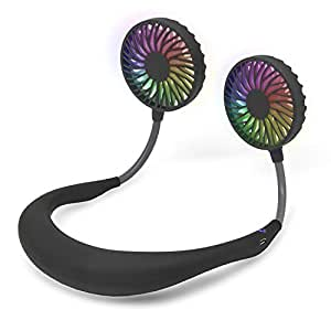 【第三世代改良版】携帯扇風機 ポータブル扇風機 首掛け ハンズフリー 7枚羽根 2000mAh USB充電式 3段階風量 静音 LEDライト ミニ 軽量 暑さ 夏