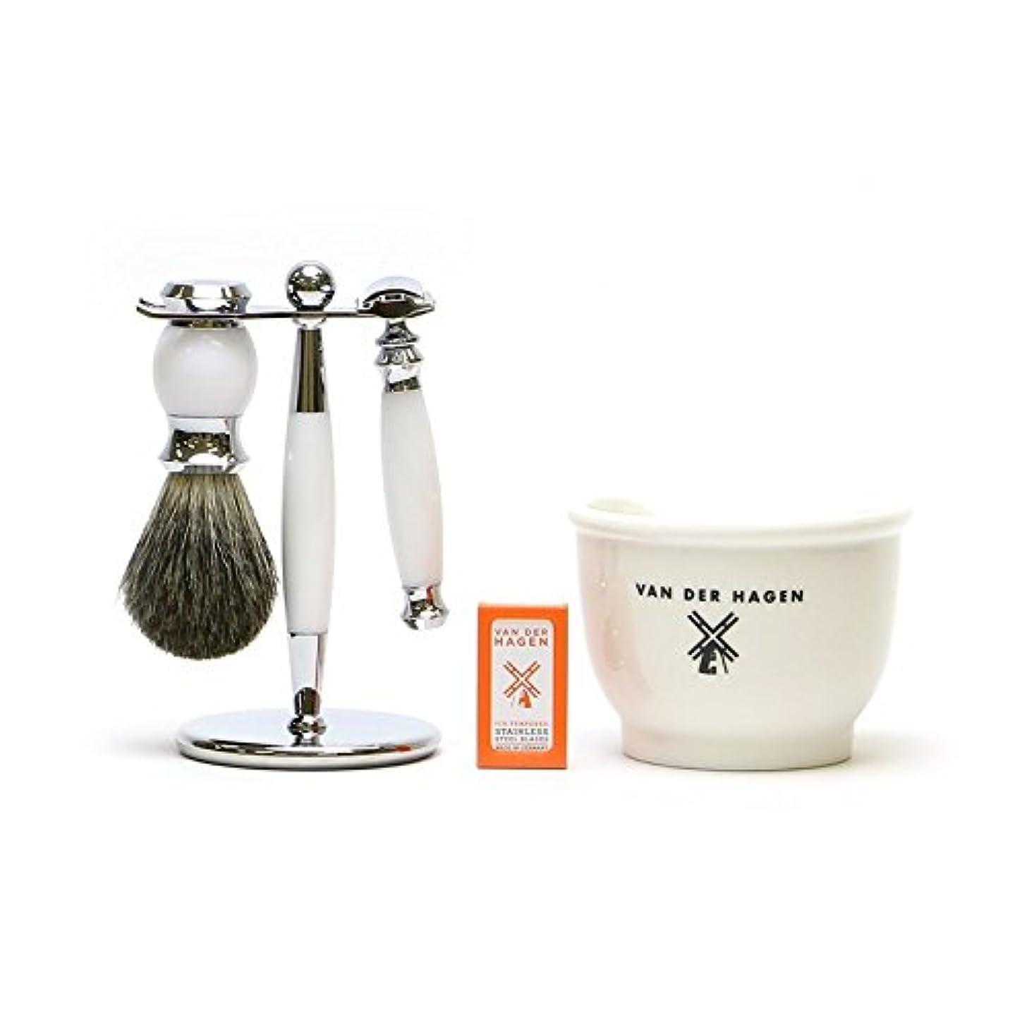 提供代数的息苦しいVANDERHAGEN(米) ウェットシェービングセット ホワイトライト 両刃 髭剃り 替刃5枚付