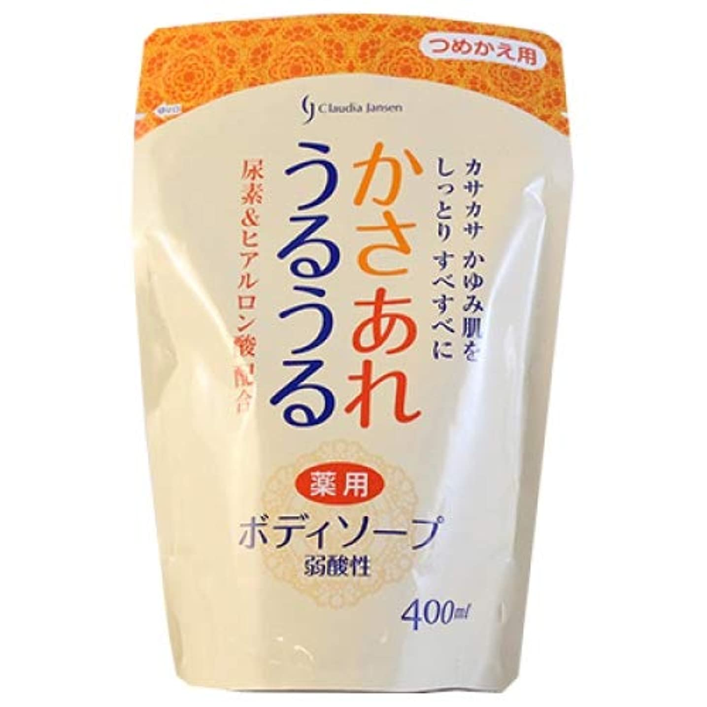 かさあれうるうる 弱酸性 薬用ボディソープ 詰替え 400ml(日本石鹸)