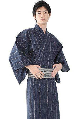 (キョウエツ)KYOETSUメンズ浴衣4点セット縞A新サイズ(浴衣/角帯/下駄/腰紐)(M,A-8.縞×紺(角帯灰))