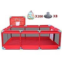 バスケットボールのフープとボール付きの大きなポータブルベビープレイペンター室内の屋外の男の子女の子の安全性のプレイセンターヤードの折り畳み式の幼児ホーム活動エリアフェンス10パネル、赤 (色 : 200 Balls)